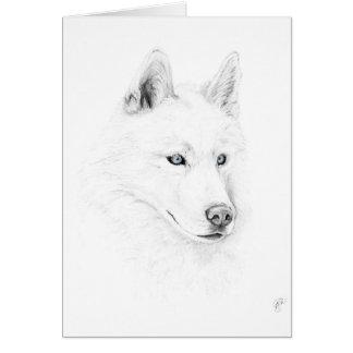 Saber A Siberian Husky Drawing Art Blue Eyes Greeting Card