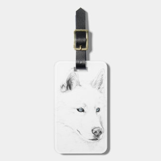 Saber A Siberian Husky Drawing Art Blue Eyes Luggage Tag
