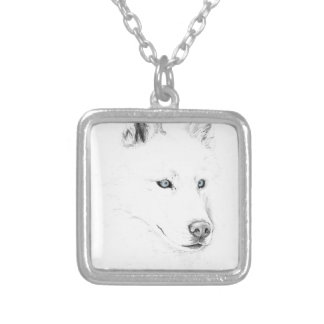 Saber A Siberian Husky Drawing Art Blue Eyes Square Pendant Necklace