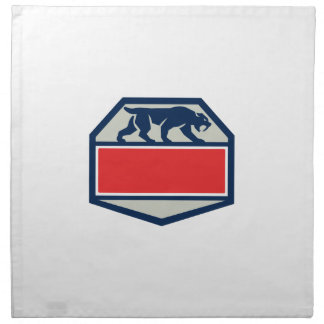 Saber Tooth Tiger Cat Hexagon Retro Napkin