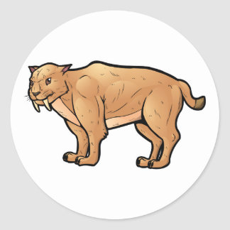 Saber Toothed Cat Classic Round Sticker