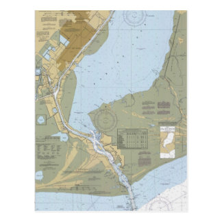 Sabine Pass Port Arthur Nautical Chart Postcard