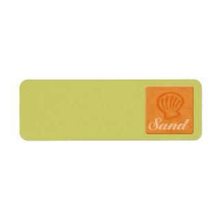 Sable de surf étiquette d'adresse retour
