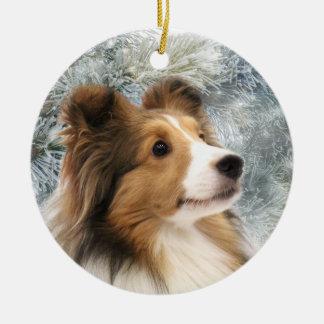 Sable Sheltie Christmas Ceramic Ornament