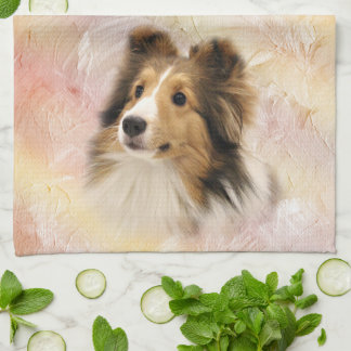 Sable Sheltie face Kitchen Towel