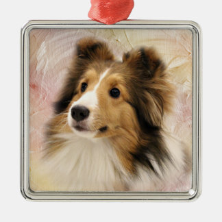 Sable Sheltie face Metal Ornament