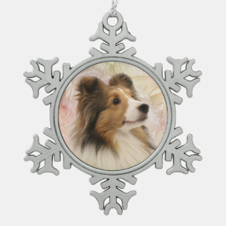 Sable Sheltie face Snowflake Pewter Christmas Ornament