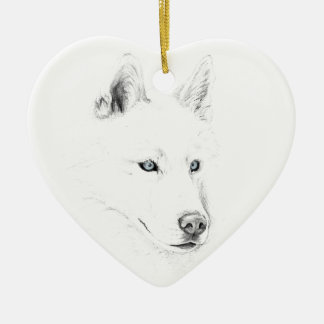 Sabre A Siberian Husky Drawing Art Blue Eyes Ceramic Heart Ornament