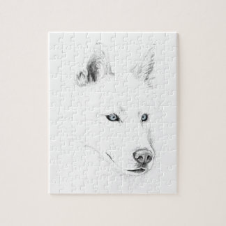 Sabre A Siberian Husky Drawing Art Blue Eyes Jigsaw Puzzle