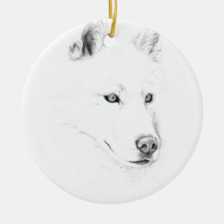 Sabre A Siberian Husky Drawing Art Blue Eyes Round Ceramic Ornament