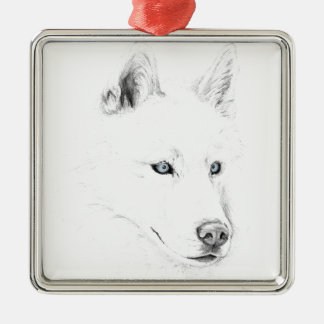 Sabre A Siberian Husky Drawing Art Blue Eyes Silver-Colored Square Ornament