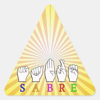 SABRE DEAF FINGERSPELLED ASL NAME SIGN TRIANGLE STICKER