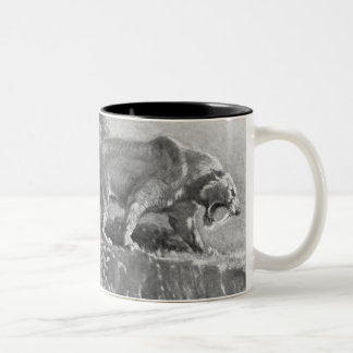 Sabre Tooth Tiger Antique Print Two-Tone Coffee Mug