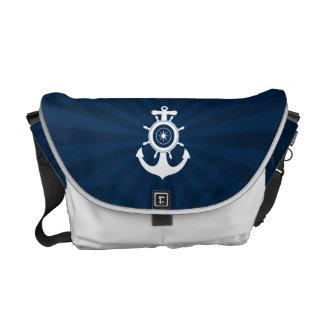 Sac blanc bleu de marin d'ancre sacoches