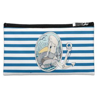Sac bleu et blanc de sirène et d'ancre de rayure pochettes make-up