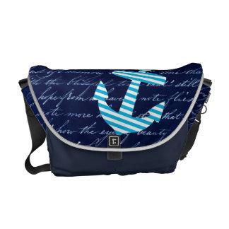 Sac bleu rayé nautique de marine d'ancre sacoche