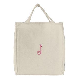 Sac brodé par monogramme de fleur de la lettre J