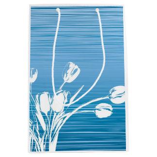 Sac de cadeau de tulipe bleue sac cadeau medium