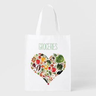 Sac d'épicerie réutilisable de coeur végétarien