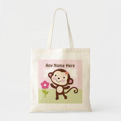 Sac fourre-tout personnalisé à singe de fille de j