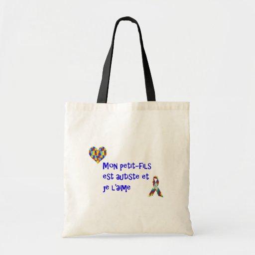 Sac Mon petit-fils est autiste et je l'aime Canvas Bags