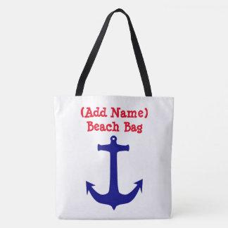 Sac nautique personnalisé de plage d'ancre et de