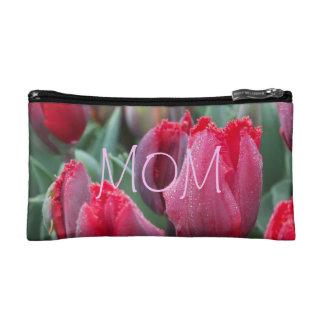 Sac rouge de tulipes de maman trousse de toilette