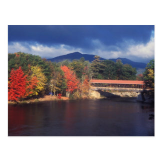 Saco River Covered Bridge Autumn Storm Postcard