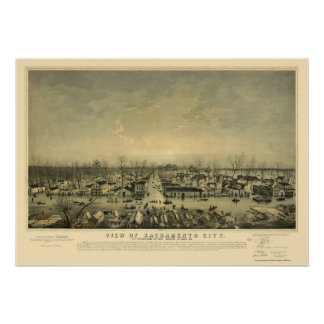 Sacramento, CA Panoramic Map - 1850 Poster