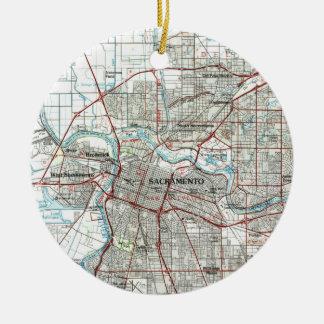 Sacramento California Map (1994) Ceramic Ornament