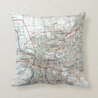 Sacramento California Map (1994) Throw Pillow
