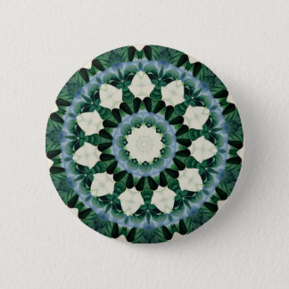 Sacramento Green and Cerulean Blue Mandala 2 Inch Round Button