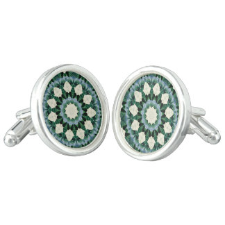 Sacramento Green and Cerulean Blue Mandala Cuff Links