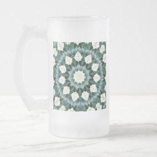 Sacramento Green and Cerulean Blue Mandala Frosted Glass Beer Mug