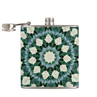 Sacramento Green and Cerulean Blue Mandala Hip Flask