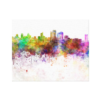 Sacramento skyline in watercolor background canvas print