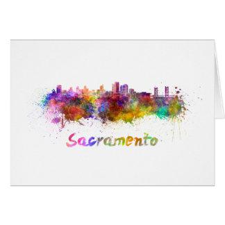 Sacramento skyline in watercolor card