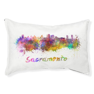 Sacramento skyline in watercolor pet bed