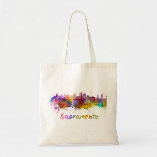 Sacramento skyline in watercolor tote bag