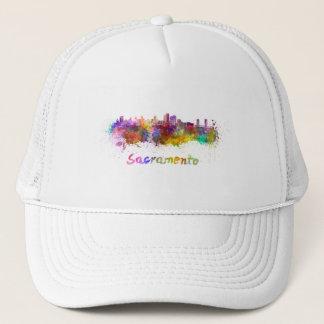 Sacramento skyline in watercolor trucker hat