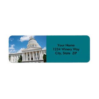 Sacramento State Capitol of California Return Address Label