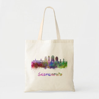 Sacramento V2 skyline in watercolor Tote Bag