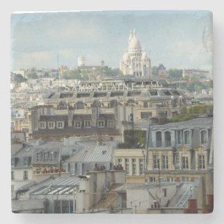 Sacre Coeur across Paris Rooftops Stone Coaster