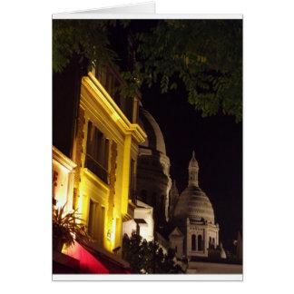Sacre Coeur, Paris at night Greeting Card