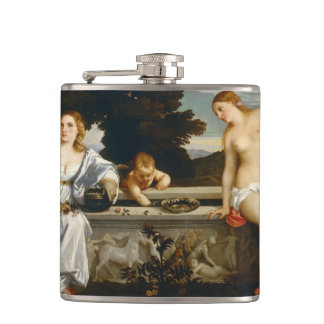 Sacred and Profane Love by Titian Hip Flask