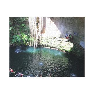 Sacred Blue Cenote, Ik Kil, Mexico #4 Canvas