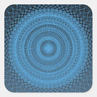 Sacred Geometric Pattern in Blue Square Sticker