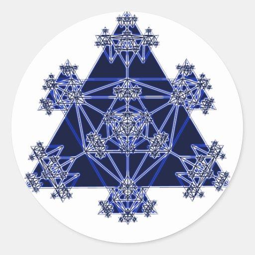 Sacred Geometry: Blue Triangles: Round Sticker