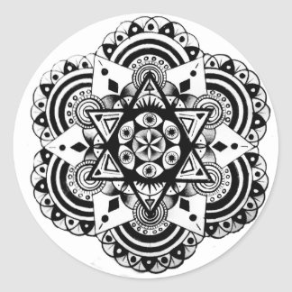 Sacred Geometry Hand Drawn Design Classic Round Sticker
