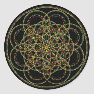 Sacred Geometry -Hand Drawn Round Sticker